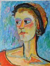 VTG Portrait Ginger Hair Girl Colorist Expressionist Acrylic on Board Painting