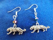 New listing Cat Earrings Africa Tiger Charm Crystal Exotic Boho Handmade ~ Ships Free to Usa