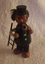 "Wooden Figurine Smoking Pipe Holding Ladder Decor 6"" Tall"