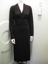 New Plus Size Black Sweater Dress 16 18 2X Ruched Rayon Wool Made in Italy