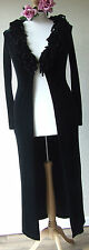 RIVER ISLAND VELOUR BURLESQUE STYLE COAT SIZE 12 LARGE FRINGE COLLAR HOOK FASTEN