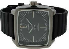 All Black Geneva Watch  Square Big Face Rectangle Dial PU Rubber Band