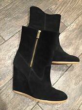 COACH Women's 11 DANEE Black Suede Shearling Lined Wedge Heel Boots