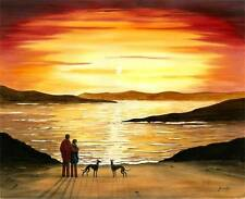 PAINTING GREYHOUND WHIPPET LURCHER 6841 Dianne Heap ART DOG SEA SUNSET PRINT