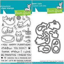 """Lawn Fawn """"MEOW YOU DOIN'"""" Clear Photopolymer Stamps and Matching Dies Set"""
