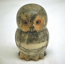 Old Vintage Alabaster Marble Owl w Glass Eyes Shelf Figurine Hand Carved Italy
