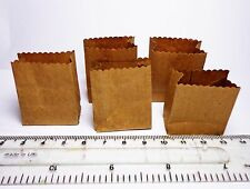 1:12 Scale 5  Empty Brown Paper Shopping Bags Dolls House Miniature Accessory