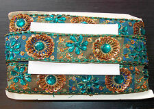 teal bronze Jewel Sequin Indian wedding cake dance costume ribbon rhinestone