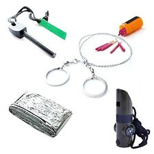 Survival Tool Flint stone+Sleeping bag+Saw+7in1 Whistle+Windproof matches