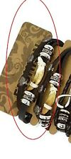 BRACELET mixte cuir et DENT sur noeud coulissant MIXTE réglable prix TOP !!