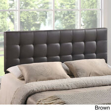 Queen Leather Headboard Tufted Brown Modern Upholstered Faux Contemporary Bed