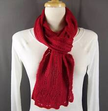 """Red pointelle knit pattern knitted scarf 68"""" long winter wrap soft"""