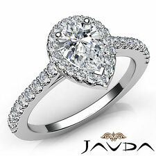 Pear Diamond Shared Prong Set Engagement Ring GIA E Clarity VS1 Platinum 1.22Ct