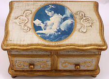 Vintage Mele Musical Wood Jewelry Box Plays Lullaby Tune