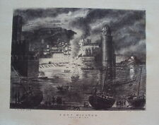 LITHOGRAPHIE PYRENEES ORIENTALES FORT MIRADOU COLLIOURE