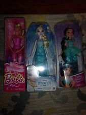 NEW LOT OF 3 DOLLS- BARBIE, DISNEY ELSA AND DISNEY JASMINE