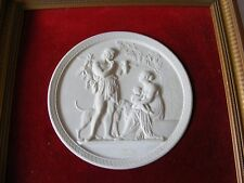 LOVELY ROYAL COPENHAGEN BISQUE PORCELAIN CIRCULAR PLAQUE AUTUMN CLASSICAL SCENE