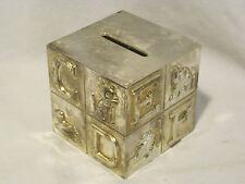 GODINGER BANK piggybank cube alphabet metal silver co. art *missing piggy a