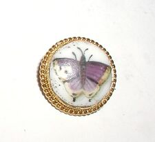 """""""Victorian 15ct Gold & Porcelain Butterfly Brooch"""" Circa 1880 Very Pretty"""