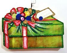 WRAPPED GIFT PACKAGE w/ COLORFUL BAUBLES * Glitter CHRISTMAS ORNAMENT * Vtg Img
