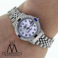 Ladies Rolex Datejust 26mm Jubilee Bracelet  Diamonds and Sapphires Bezel 79160