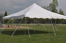 20 x 20 Pole Tent PARTY PACKAGE White Outdoor Canopy Graduation Tables Chairs