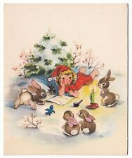 UNUSED Vintage Greeting Card Christmas Angel Writing Letter w/ Animals Blank L16