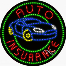 "NEW ""AUTO INSURANCE"" LOGO 26x26x1 SOLID/ANIMATED LED SIGN w/CUSTOM OPTIONS 21309"
