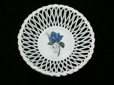 APULUM LUCRU-MANUAL PORCELAIN DISH - BASKETWEAVE ROPE DESIGN  BLUE ROSE GOLD RIM