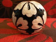 Anthropologie Enamel Door Knob Set Copper Ivory Black Floral Damask