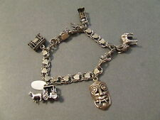 VINTAGE STERLING SILVER HEART CHARM BRACELET W/ 5 CHARMS MASK CABLE CAR DONKEY
