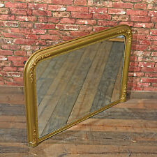 Antique Regency Gilt Gesso Overmantle Mirror, Fitted Bevelled Glass Plate