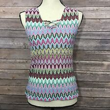 Tribal Blue Pink Purple Multicolored Sleeveless Cami Knit Tank Top Shirt Size S