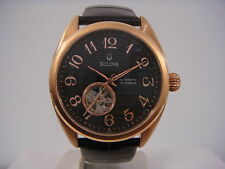 BULOVA AUTOMATIC 21 JEWELS BLACK DIAL BROWN LEATHER STRAP MEN'S WATCH 97A104 NEW