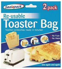 2 Pack Re-usable Toaster Sandwiches and Snacks Kitchen Bag Dishwasher Safe New