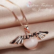 18K Rose Gold Plated Simulated Opal Delicate Love Angel Necklace Jewellery