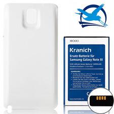Kranich Akku 6400mAh Samsung Galaxy Note3 N9000 Ersatzbatterie Cover Weiss