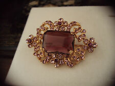 Vintage Emerald Cut Purple Amethyst Crystal & Gold Brooch