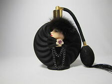 Black Round Atomizer with Porcelain Face and Fur Hat