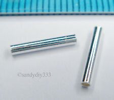 20x STERLING SILVER PLAIN ROUND TUBE HEISHI BEAD 1.5mm 10mm SPACER #1273
