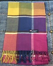 100% Cashmere Scarf Pink Yellow Bl Check Plaid  Made in Scotland SOFT Warm NEW