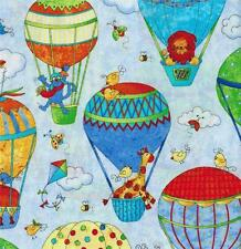 Northcott Up Away Hot Air Balloon Red Blue Yellow Green Orange Childrens Fabric