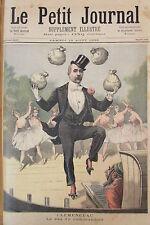 CARICATURE CLEMENCEAU THEATRE DANSEUSES SUFFRAGE GRAVURE LE PETIT JOURNAL 1893