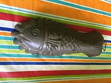"PRIMITIVE VINTAGE TIN METAL FISH MOLD GELATIN WITH HANGER 11 1/2"" GREAT DETAILS"