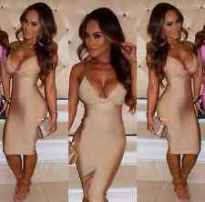 NWT Holly V Neck Bandage Dress In Nude