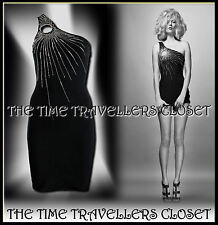 Kate Moss Topshop Black One Shoulder Keyhole Bodycon Mini Dress Diamante UK8 10