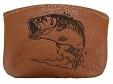 New Leather Engraved Largemouth Bass Zippered Coin Pouch Change Purse USA Made
