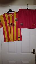 Boys Football Shirt & Shorts Kit - Barcelona - Nike Away 2013-2014 - Red Yellow