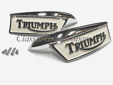 Triumph Gas Tank Painted Badge Emblem Set 82-9700 82-9701 1969-79 T100 T120 TR7