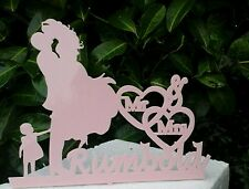 New Our silhouette Bride& Groom with your Surname and child Wedding cake Toppers